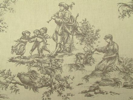 Designer Grey Toile de Jouy 100% Cotton Curtain /Upholstery Fabric